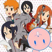 Anime/manga: Bleach and K-On! Characters: Ishida (Mio), Ichigo (Ritsu), Rukia (Yui), and Inoue (Mugi)