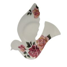 Vintage china dove wall hanging redesigned from an abandoned saucer - upcycled, recycled, repurposed in Western Australia