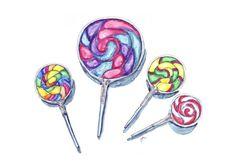 Watercolor Painting  Swirl Lollipops Watercolor Art by jojolarue, $12.00