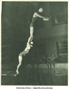 Tandem diving, The University of Iowa, 1930s | University of Iowa Physical Education for Women | Iowa Digital Library