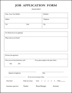 Standard Job Application Form | Standard Application for ...
