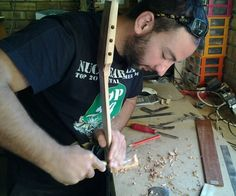 "One of my ""lutherie s'cool"" students, Daryl carving a guitar heel."