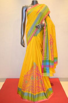 Yellow Hand Woven Grand Pure Soft Silk Saree Product Code: AA211089 Online Shopping; http://www.janardhanasilk.com/Yellow-Hand-Woven-Grand-Pure-Soft-Silk-Saree?search=AA211089&description=true