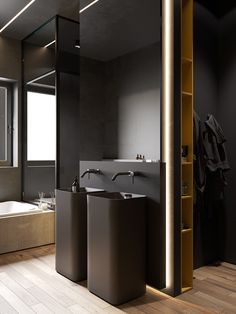 Top Amazing Black Modern Bathroom Interior Design Secrets RoomSketcher Home Designer is stuffed with loads of great features to fulfill your house des. Contemporary Interior Design, Modern Bathroom Design, Bathroom Interior Design, Kitchen Interior, Decor Interior Design, Minimal Bathroom, Interior Shop, Bedroom Modern, Bathroom Designs