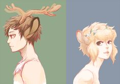 Deertaur male and female by medli on DeviantArt