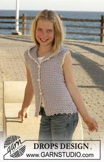 "DROPS Children 15-9 - DROPS sleeve less cardigan crochet in ""Alpaca"". - Free pattern by DROPS Design"