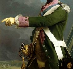 Roslin. Detail from Louis, Dauphin of France in the uniform of Colonel General of the Dragoons, at Compiègne, 1763. ""