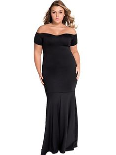 Women's Plus Size Drop Shoulder Maxi Evening Formal Dress