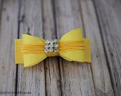 Yellow Bow Hair Clip with Rhinestones
