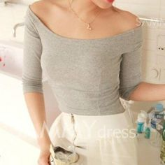 $6.28 Chic Style Slash Neck Solid Color 3/4 Sleeves T-shirt For Women