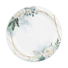 White Flowers and Watercolor Greenery Elegant Paper Plate Phone Wallpaper Design, Framed Wallpaper, Flower Background Wallpaper, Flower Backgrounds, Flower Circle, Flower Frame, Happy Birthday Printable, Baby Boy Cards, Invitation Background