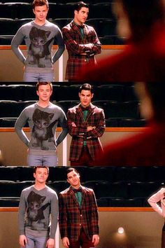 Can I just say how utterly amazing the outfits they are wearing are. Kurt in a cat jumper and Blaine in a tartan jacket and famous bow-tie.