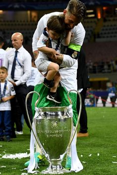 Real Madrid Family — Sergio Ramos with his son Sergio Jr. with the...