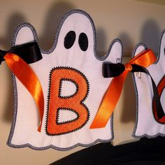 "Ghost Banner In The Hoop Banner Machine Embroidery Design Applique Patterns all done In-The-Hoop for Halloween in 4 sizes 4"", 5"", 6"" and 7"". $4.95, via Etsy."