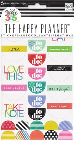 To Do Stickers - Bright - Nothing is easier than customizing your planner with stickers! This value pack features stickers that were designed to fit perfectly in the daily columns of your weekly view in The Happy Planner™. Each package includes 6 sheets of stickers that contain icons and sayings specifically for planners.