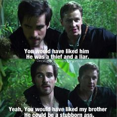 Bonding over brothers...Yeah, whether Charming likes it or not, I think Hook is winning him over.
