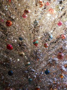 Peco Aluminum Christmas Tree w/vintage ornaments ~ModShawn