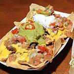 Dodger Stadium, Camacho Nachos - topped with guacamole, pico de gallo, and sour cream, with chicken or carne asada