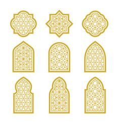 Arabic ornamental windows set vector image on VectorStock Living Room Partition Design, Room Partition Designs, Arabic Pattern, Pattern Art, Arabian Decor, Eid Stickers, Window Wall Decor, Eid Crafts, Moroccan Art