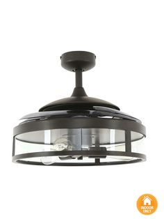 Fanaway Classic Ceiling Fan in black with Clear 4 Retractable Blades and Light