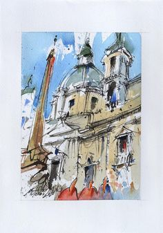 Piazza Navona Ink and watercolor on paper 2020 small | Etsy Beautiful Artwork, Cool Artwork, Ink Painting, Watercolor Paintings, Piazza Navona, Paper Dimensions, Urban Sketching, Watercolor And Ink, Paper Size