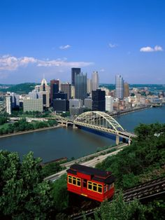 Duquesne Incline Cable Car and Ohio River, Pittsburgh, Pennsylvania, USA Photographic Print by Steve Vidler at Art.com
