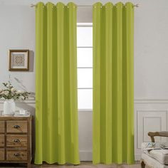 Yakamok Room Darkening Lime Blackout Curtains for Bedroom Thermal Insulated Window Panels, 52 W X 84 L Inch,Grommet Top,Set of 2 Panels Lime Curtains with Tie Backs Lime Green Curtains, Black Curtains, Home Curtains, Curtains Living, Velvet Curtains, French Door Curtain Panels, Window Panels, Tropical Shower Curtains, Insulated Drapes