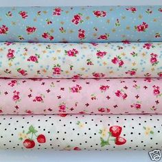Bundle of 4 fat quarters 100 cotton - lovely quality shabby chic - This is a cotton poplin light weight cotton - Great for haberdashery and loads of