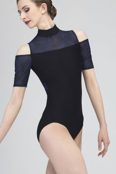 CLEMATIS - A half sleeve leotard with modern open shoulder design and a zipper back. Highlighted with elegant night blue detail on the sleeves and back. A unique and innovative design. Full front lining. #wearmoi #ballet #leotards
