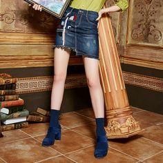 Elf Sack autumn female pop embroidered sequins women short denime skirt | elfsack