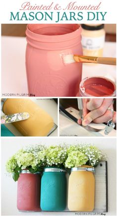 Painted, Distressed and Mounted Mason Jars DIY Tutorial {via ModernPilgrimBlog.com | @jenniferpilgrim}