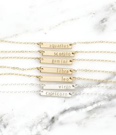 Dainty Zodiac Bar Necklace • Tiny Gold Bar Astrology Necklace • Leo Zodiac, Virgo Necklace • Personalized Zodiac Jewelry Gift • KAHLO