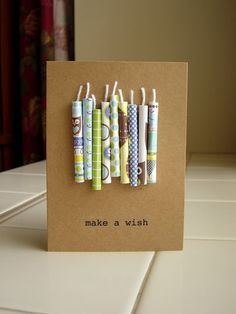 Whats not to like about this birthday card? You can use all sorts of paper or perhaps washitape to make this.