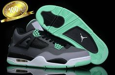Authentic Air Jordans 4 Shoes Supper Aaa Grey Black Cyan