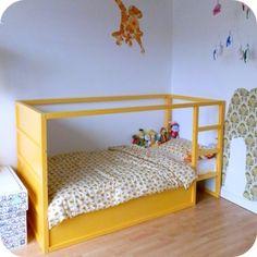 : restyled IKEA KURA kids bed in yellow