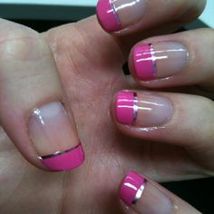 Lolly pink French tips with metallic pink nail tape. these are pretty French Manicure Designs, Pedicure Designs, French Tip Nails, Nail Polish Designs, Cool Nail Designs, Glitter Manicure, Glam Nails, Nail Manicure, Pink Nails