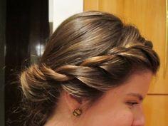 ♥ Coque diferente e jovial - coque invertido com enroladinhos - penteado rápido e fácil