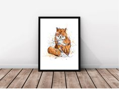 "Illustration ""Renard"" / Grand Format / Art Print / Renard roux, fourrure, orange, brun / Décoration murale / Chambre, chambre bébé, enfant par MarieEvePharand sur Etsy https://www.etsy.com/fr/listing/265725283/illustration-renard-grand-format-art"