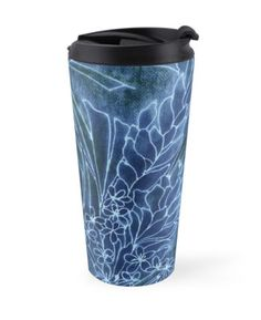 """Pretty Dungarees"" Travel Mugs by PolkaDotStudio | Redbubble #new #blue #indigo #denim #vintage #tropical #Hawaiian #jungle #garden #batik #watercolor #art on #fashion #travel #accessory #cups #mugs for #drinks #car #school #gift"