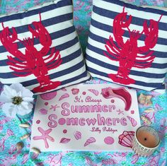 My bathroom details are all coming together! Lilly Pulitzer Print- Lobstah Roll Shower Curtain - Lobster Pillows