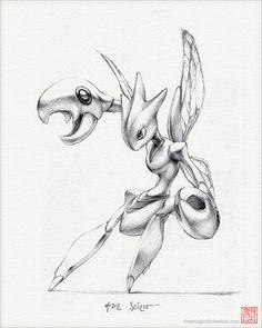 """Scizor - 8 x 10"""" print (pokemon drawing, art, bug, steel, artwork, gaming, nintendo, decor)"""