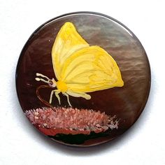 Vintage Button ~ Beautifully Signed & Painted Iridescent Smoky Pearl w Butterfly Buttons For Sale, Painted Signs, Iridescent, Serving Bowls, Butterfly, Pearls, Antiques, Tableware, Beauty