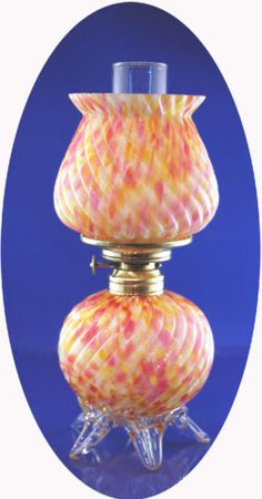 RARE Antique Multi Hued End of Day Art Glass Miniature Oil Lamp w Applied Feet | eBay