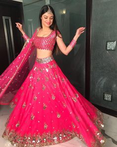 Stunning pink lehenga with Mirror work Indian Bridal Lehenga, Indian Bridal Outfits, Indian Gowns, Indian Attire, Bridal Dresses, Indian Wear, Dress Indian Style, Indian Fashion Dresses, Indian Designer Outfits