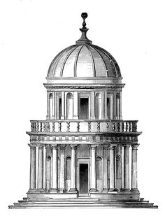 "Tempietto von Bramante. / Renaissance Chapel in Rome.  Architecture of Ancient Type, regarded as ""a Prime Example of High Renaissance Architecture."" The Tempietto Designed by Italian Architect / Donato Bramante / Founder of High Renaissance Architecture, from which it received its name. http://azadehbanai.tumblr.com/post/2941163178/speciesbarocus-tempietto-von-bramante-from"