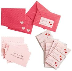 "Martha Stewart Crafts Stamp Card And Envelope Set Shimmering pink, postage stamp-shaped note card with a candy-striped envelope. To and ""From"" labels are accented with a ""postage stamp"" featuring foil-stamped hearts Includes 18 note cards, 18 envelopes, and 18 adhesive labels"
