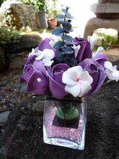 Purple Roses  and Plumeria Flower Arrangement via Etsy