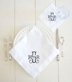 Gilded Font Monogrammed Embroidered Dinner Napkins, Cocktail Napkins, Guest Hand Towels - Wedding Keepsake for Special Occasions
