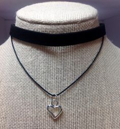 Faux Suede Choker/Double Choker/Silver Heart/Choker Necklace/ Black Faux Suede Choker/ pFaux Leather/Silver Heart/Valentine's Day Jewelry from my Etsy shop https://www.etsy.com/listing/494227858/faux-suede-chokerdouble-chokersilver