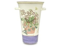 A special edition Wedgwood Sarah's Garden vase signed by Sarah Ferguson, Duchess of York. This tapered earthenware vase features two side handles and is decorated with auricula and Berger's clouded. Sarah's Garden, Everything But The House, Sarah Ferguson, Duchess Of York, Wedgwood, Earthenware, Vase, Tableware, Sydney Australia